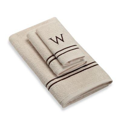 "Avanti Monogram Block Letter ""W"" Hand Towel in Ivory"
