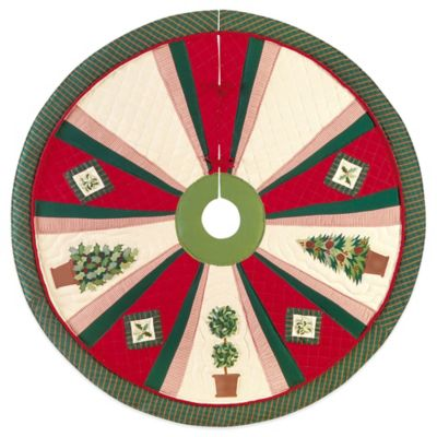 Festive Topiaries 54-Inch Christmas Tree Skirt