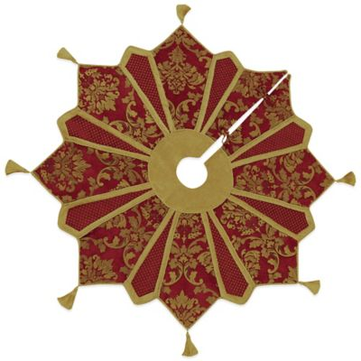 Gold and Burgundy 54-Inch Christmas Tree Skirt