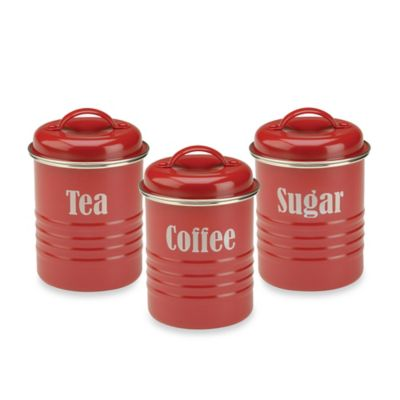 Vintage 3-Piece Canister Set in Red