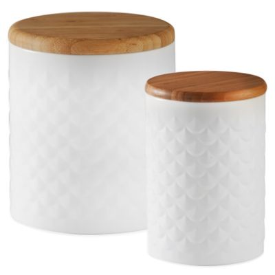 Typhoon® Small Imprima Scallop Embossed Canister in White