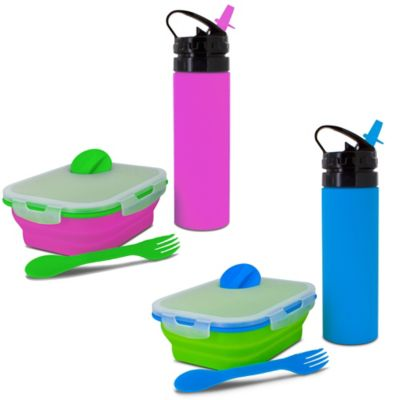 SmartPlanet Kids Collapsible Meal Kit with Water Bottle in Pink