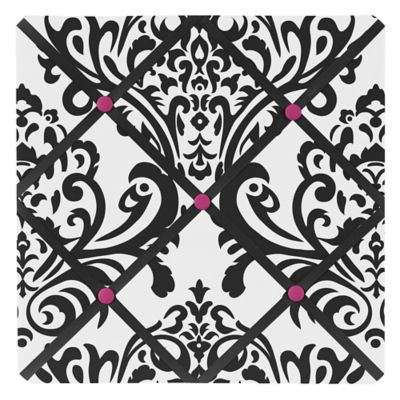 Sweet Jojo Designs Isabella Fabric Memo Board in Pink/Black/White