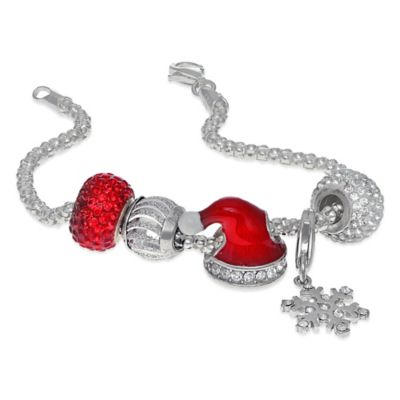 Personality Sterling Silver and Enamel 7.5-Inch Santa Hat Holiday Beaded Charm Bracelet