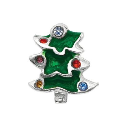 Personality Sterling Silver and Enamel Christmas Tree Bead with Crystal Accents