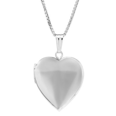 New England Locket Sterling Silver 18-Inch Chain Heart Locket Necklace