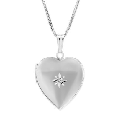 New England Locket Sterling Silver 01. cttw Diamond 15mm Polished Heart Locket Necklace
