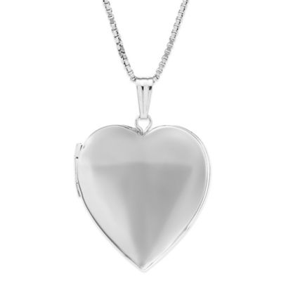 New England Locket Sterling Silver 18-Inch Chain Polished Heart Pendant Necklace