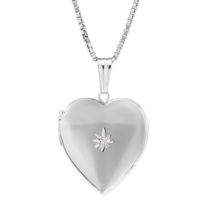 New England Locket Sterling Silver 01. cttw Diamond Chain 19mm Polished Heart Locket Necklace