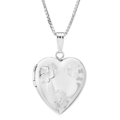 New England Locket Sterling Silver Chain Flower Engraved 18-Inch Chain Heart Locket Necklace