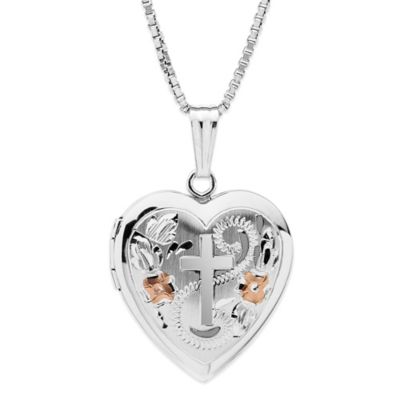 New England Locket Tri-Color Sterling Silver 18-Inch Chain Heart Locket with Cross Engraving