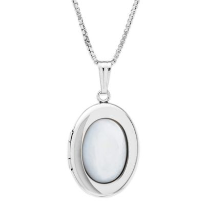 New England Locket Sterling Silver 18-Inch Chain Oval Mother of Pearl Locket Necklace