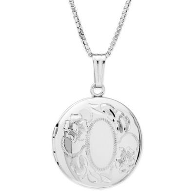 New England Locket Sterling Silver 18-Inch Chain Hand-Engraved Floral Round Locket Necklace