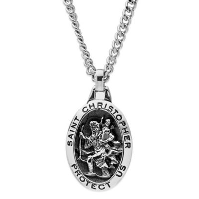 Jewels of Faith Sterling Silver Stainless Steel Chain Saint Christopher Relief Oval Medal Pendant