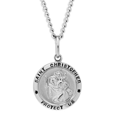 Jewels of Faith Sterling Silver 24-Inch Stainless Steel Chain Saint Christopher Round Medal Pendant