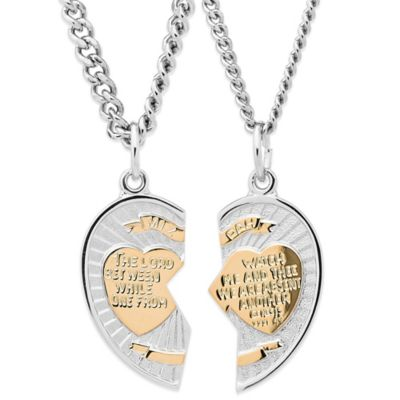 Jewels of Faith Two-Tone Sterling Silver Break-Apart Heart Mizpah Medallion Pendant with Two Chains