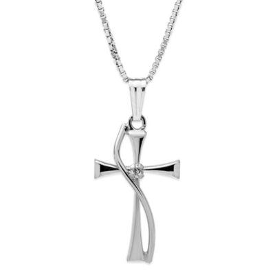Jewels of Faith Sterling Silver .01 cttw Diamond 18-Inch Chain Sash Cross Pendant