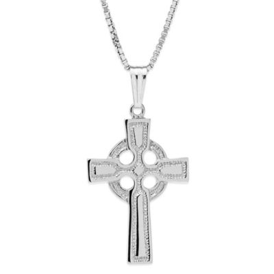 Jewels of Faith Sterling Silver 18-Inch Chain Embossed Celtic Cross Pendant