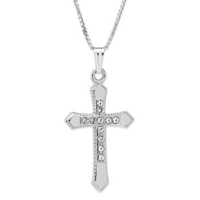 Jewels of Faith Sterling Silver Cubic Zirconia 18-Inch Chain Embossed Cross Pendant