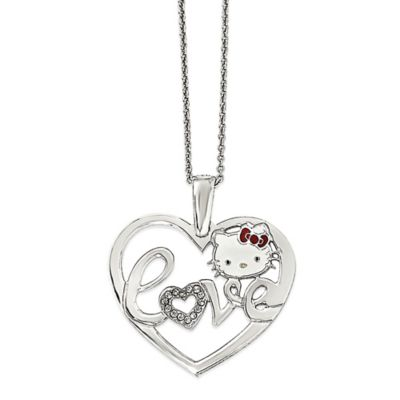 Hello Kitty® Fine Jewelry Sterling Silver 18-Inch Chain Heart Love Pendant Necklace