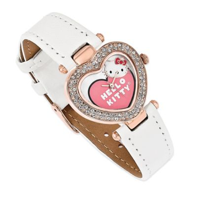 Hello Kitty® Fine Jewelry Crystal Heart Watch in Pink Ion-Plated Stainless Steel