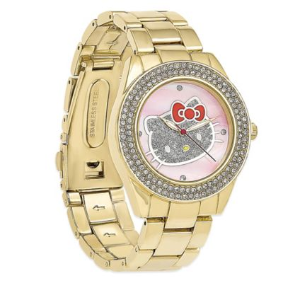 Hello Kitty® Fine Jewelry Crystal Bezel Hello Kitty Watch in Gold-Tone Stainless Steel