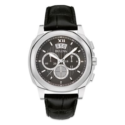 Bulova Men's Chronograph Watch in Stainless Steel with Black Leather Strap