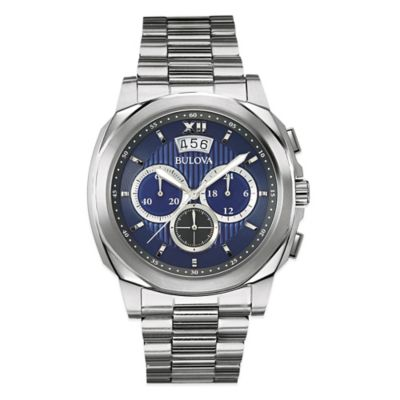 Bulova Men's Chronograph Watch in Stainless Steel with Blue Dial