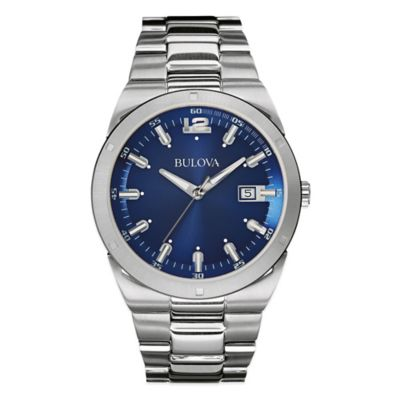 Bulova Classic Collection Men's 43mm Watch in Stainless Steel with Blue Dial