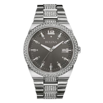 Bulova Men's 43mm Crystal Accented Watch in Stainless Steel with Grey Dial