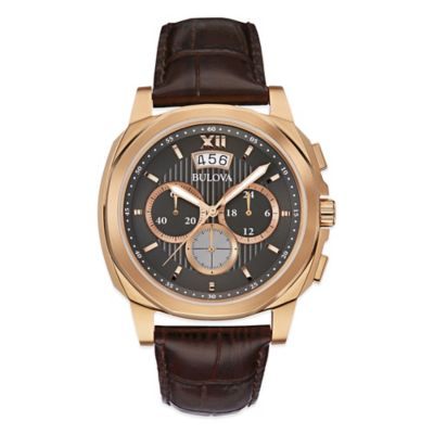 Bulova Men's Chronograph Watch in Rose Gold-Tone Stainless Steel with Brown Leather Strap