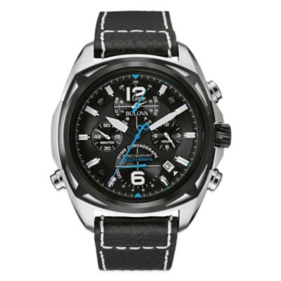 Bulova Men's 48mm Precisionist Chronograph Watch in Stainless Steel with Black Leather Band