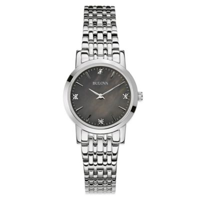Bulova Ladies' 27mm Diamond Watch in Stainless Steel with Black Mother of Pearl Dial