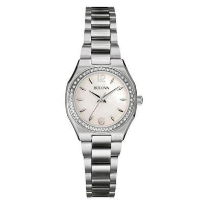 Bulova Ladies' 26mm Diamond Watch in Stainless Steel with Mother of Pearl Dial