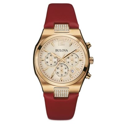 Bulova Ladies' Dress Chronograph Watch in PVD Rose Gold Plated Stainless Steel with Roseberry Strap