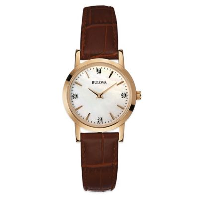 Bulova Ladies' 27mm Diamond and Mother of Pearl Watch with Brown Leather Strap