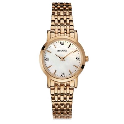 Bulova Ladies' 27mm Diamond Watch in Rose Gold Stainless Steel with Mother of Pearl Dial