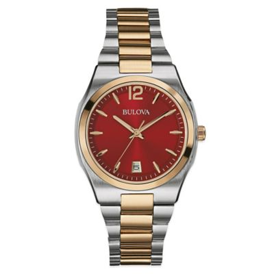 Bulova Classic Collection Ladies' Two-Tone Watch in Stainless Steel with Red Dial