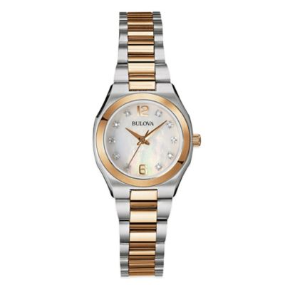 Bulova Ladies' Two-Tone Diamond Watch in Stainless Steel with Mother of Pearl Dial