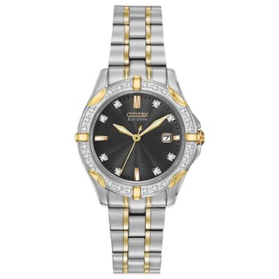 Citizen Eco-Drive Ladies' 29mm Diamond-Accented Black Dial Watch in Two-Tone Stainless Steel