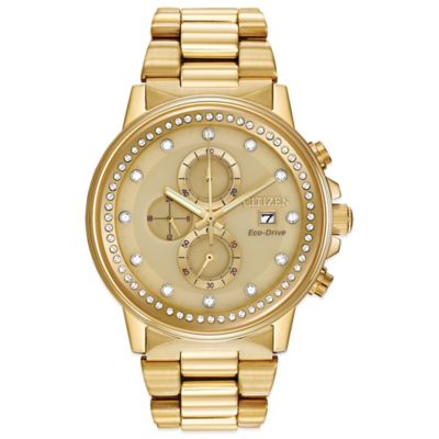 Citizen Eco-Drive Ladies' Crystal-Accented Nighthawk Chronograph Watch in Goldtone Stainless Steel