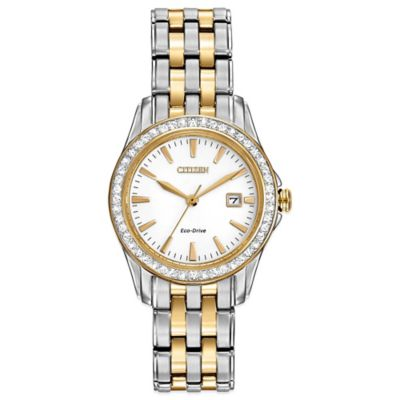 Citizen Eco-Drive Ladies' 28mm Silhouette Crystal Watch in Two-Tone Stainless Steel