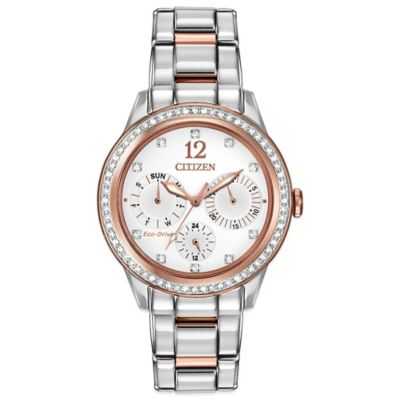 Citizen Eco-Drive Ladies' 37mm Silhouette Crystal Multi-Function Watch in Two-Tone Stainless Steel