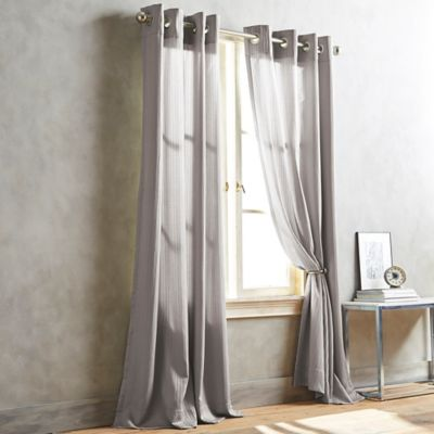 DKNY Cobble Hill 63-Inch Window Curtain Panel in Pewter
