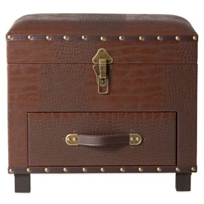 Bombay® Everett Storage Ottoman in Brown