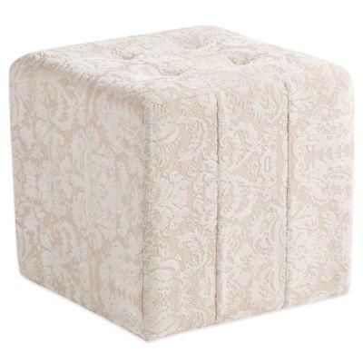 Bombay® Ella Square Ottoman in White/Beige