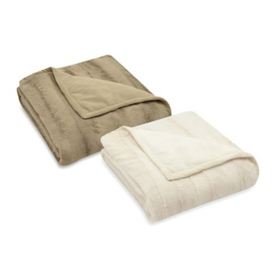 Mink Reversible Throw in Ivory