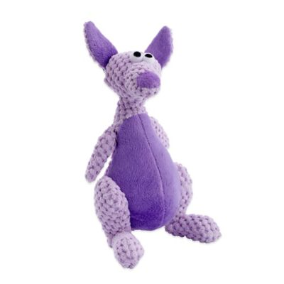 GoDog Large Checkers Kangaroo Dog Toy with Chew Guard™ in Purple
