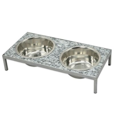 Granite/Wrought Iron Double Diners Dog Dish in Champagne