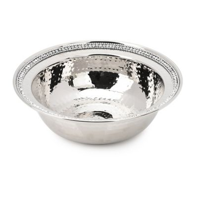 Classic Touch Hammmered Stainless Steel Bowl